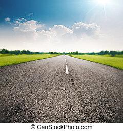 camino de país, resumen, transporte, y, viaje, fondos