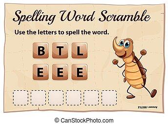 camino difícil, juego, palabra, ortografía, escarabajo