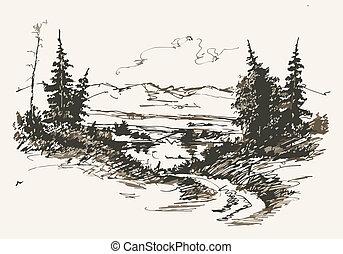camino, en, montañas