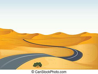 camino, en, un, desierto
