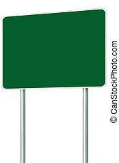 camino, espacio de copia, aislado, signage, signboard, muestra en blanco, grande, poste, tráfico, perspectiva, marco, zona lateral de camino, verde, poste, poste indicador, blanco, vacío