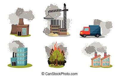 camino, humo, industrial, tráfico, desperdicio, conjunto, vector, fuentes, radioactivo, escena, contaminación, aire