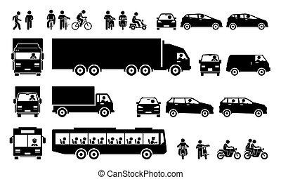 camino, icons., transportes, transporte