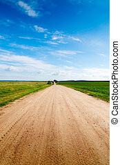 camino largo, a, verde, hills.