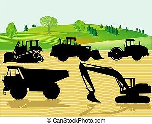camino, maquinaria, pesado, construcción