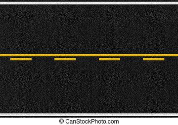 camino, norteamericano, asfalto, textura