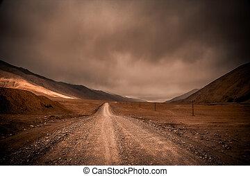camino, por, el, tibetano, meseta
