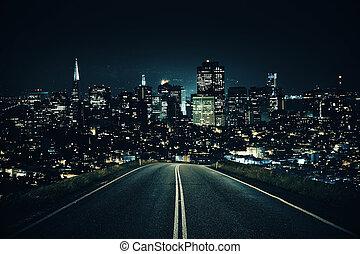 camino, primero, a, noche, ciudad