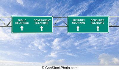 camino, relación, público, palabras, señal