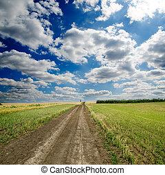 camino rural, debajo, cielo dramático
