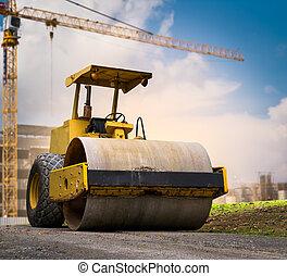 camino, sitio, rodillo, construcción