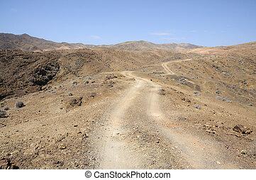camino, solo, isla, fuerteventura, canario, montañas.,...