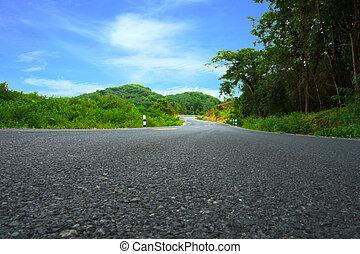 camino tortuoso, a, el, hills.