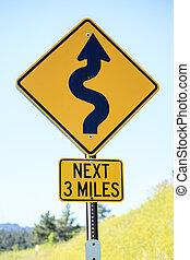 camino tortuoso, luego, 3, millas, muestra del camino