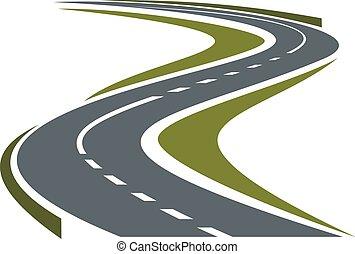 camino tortuoso, pavimentado, o, carretera, icono
