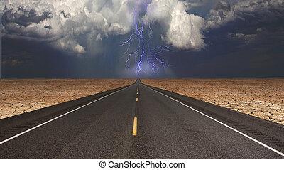 camino, vacío, desierto, tormenta