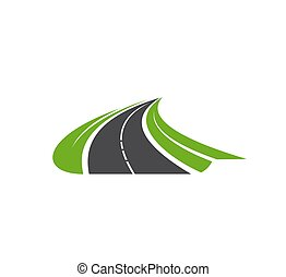 camino, vector, entrada de coches, curva, carretera, icono, camino