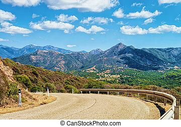 camino, y, el, montañas, en, buggerru, cerdeña