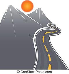 camino, y, montañas, vector, acción