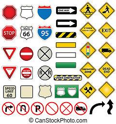 camino, y, señales de tráfico