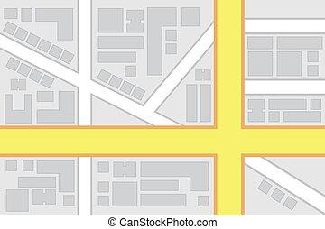 caminos, ciudad, intersección, principal, mapa