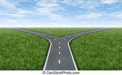 caminos, cruz, horizonte
