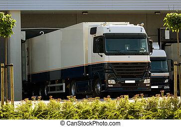 camion, à, embarcadère
