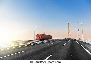 camion, a, autostrada