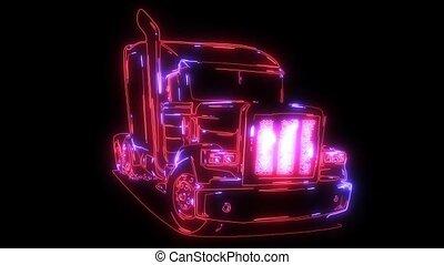 camion, américain, animation, laser, classique