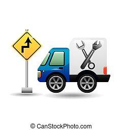 camion, assitance, segno strada
