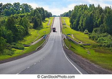 camion, autoroute, cargaison, livre, pays