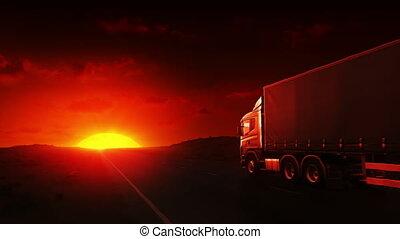 camion, autoroute, levers de soleil