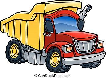 camion basculeur, dessin animé, décharge