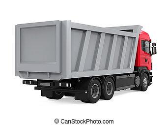 camion basculeur, isolé, décharge