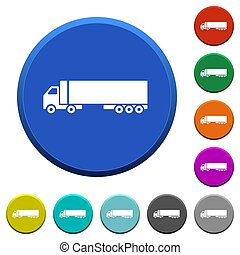 Camion round color beveled buttons with smooth surfaces and flat white icons
