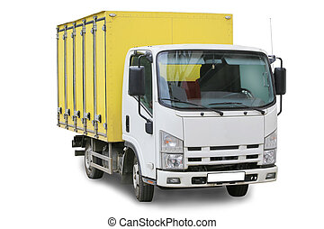 camion, blanc, isolé, il