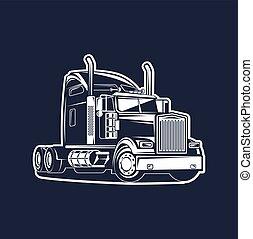 camion, blanc, vecteur, noir, illustration