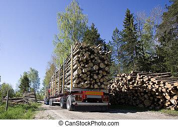 camion, bois construction