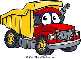 camion, caractère, dessin animé, décharge