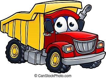 camion, carattere, cartone animato, discarica