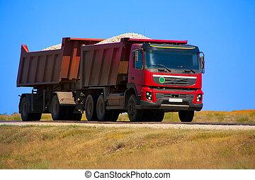 camion caravane, rouges, décharge