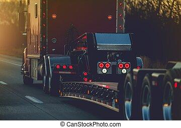 camion caravane, semi, plate-forme