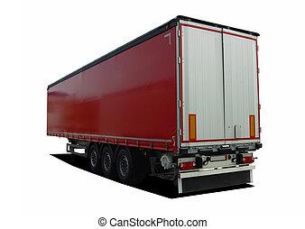 camion, caravane semi, rouges