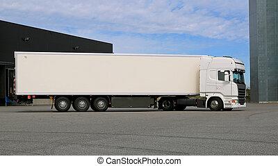 camion caravane, semi, yard, entrepôt, blanc