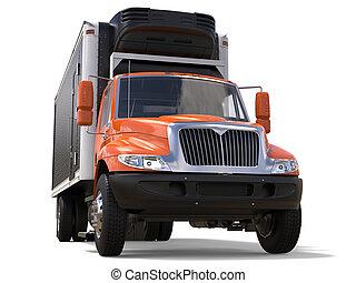 camion cargaison, caravane, orange, noir, réfrigérateur