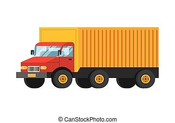 camion cargaison, dessin animé, transport, véhicule