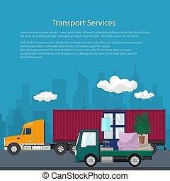 camion cargaison, meubles, camion, affiche