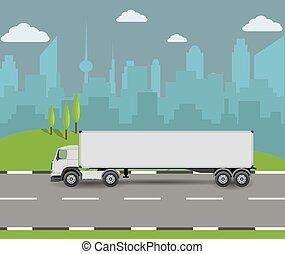 camion, cargaison, transport, road., conduite