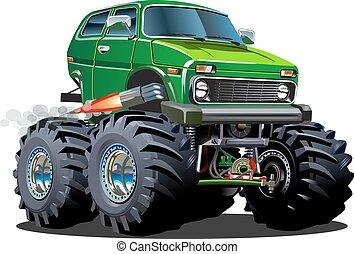 camion, cartone animato, mostro