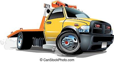 camion, cartone animato, rimorchio